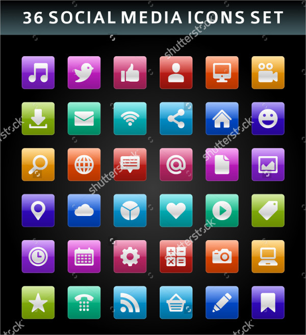 36 Social media Business Icons