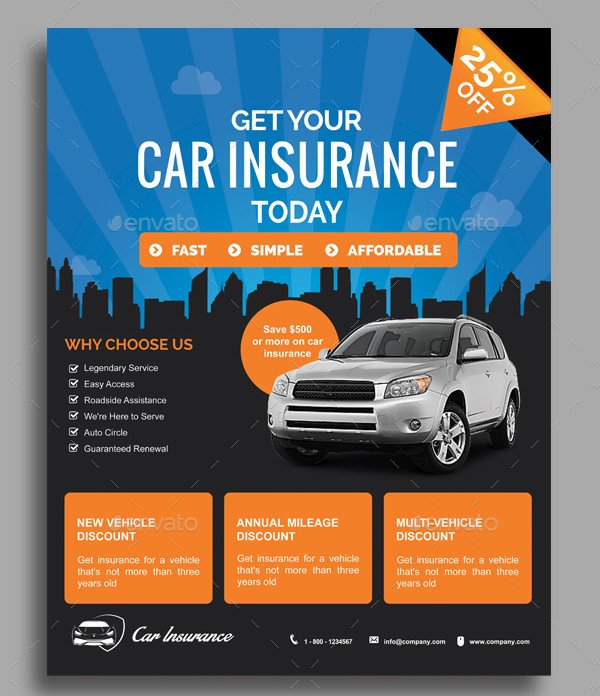 Simple Car Insurance Flyer Template
