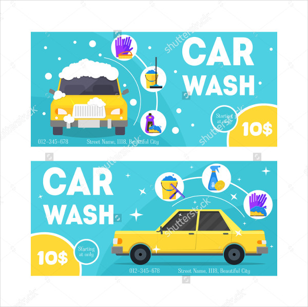 Car Wash Service Business Cards Set