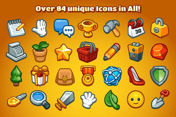 84 Casual Game Basic Icons