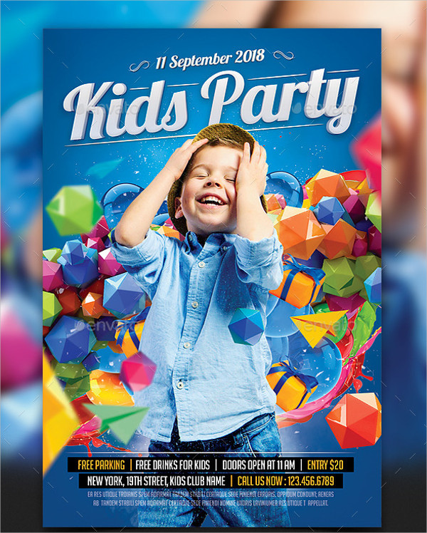 Colorful Kids Birthday Party Flyer Template