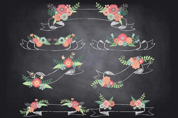 Chalkboard Floral Banner Template