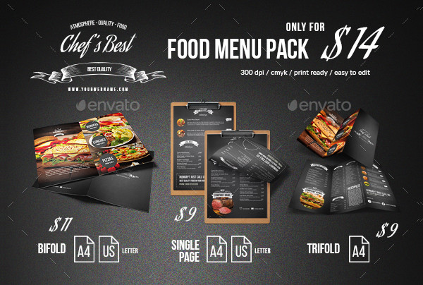 Chef Blackboard Menu Templates Bundle