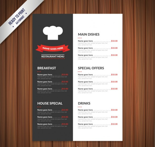 Chef Food Menu Template Free Download