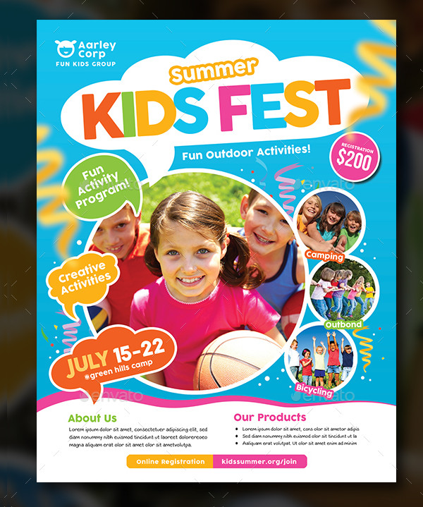PSD Kids Summer Camp Fest Flyer Design
