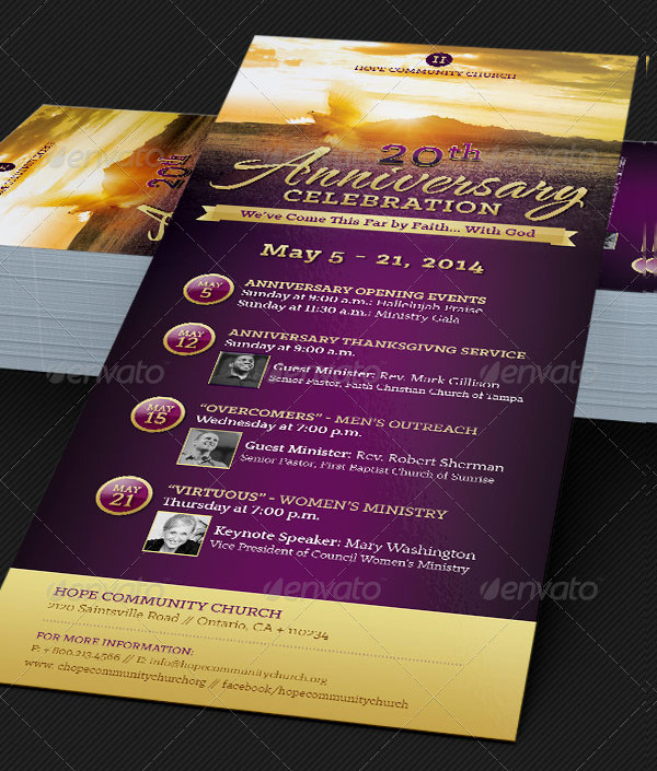 Church Anniversary Events Rack Card Templates