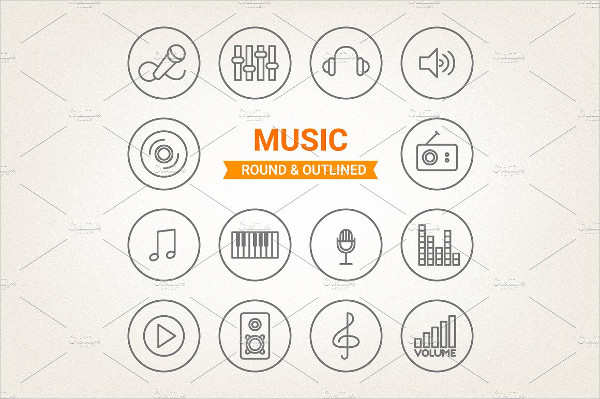 Music Round & Outlined Icons