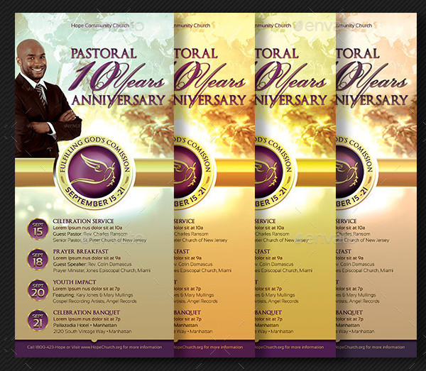 Clergy Anniversary Rack Card Templates