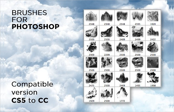 Packs of 28 Brushes Clouds for Photoshop