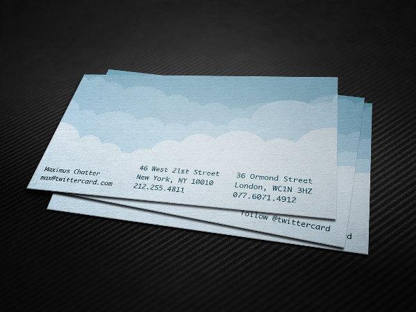 Twitter Cloud Business Card Template