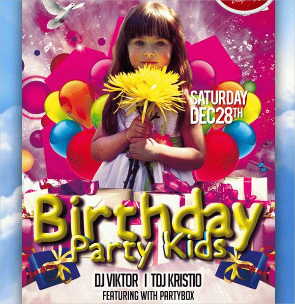Free Kids Birthday Club & Party Flyer Template