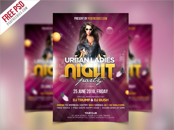 Urban Ladies Night Party Flyer Free PSD