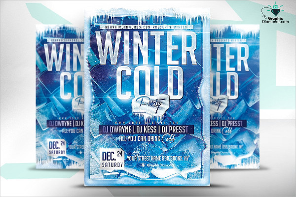 Cold Winter Party Flyer PSD
