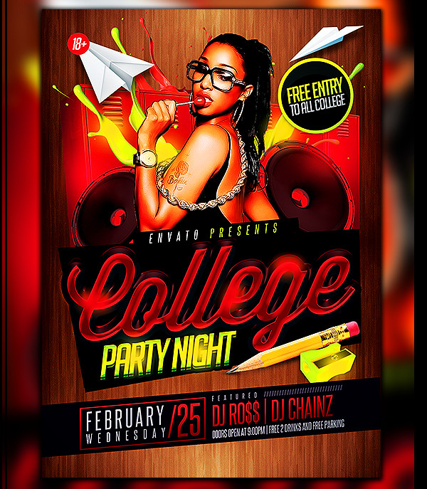 Creative College Night Party Flyer Template