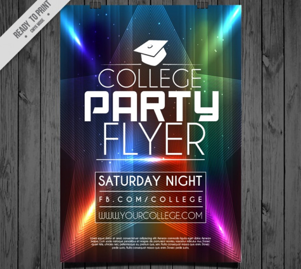 Free Vector College Party Flyer Template