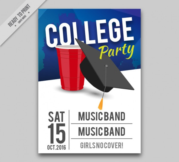 College Party with Live Music Flyer Free Vector