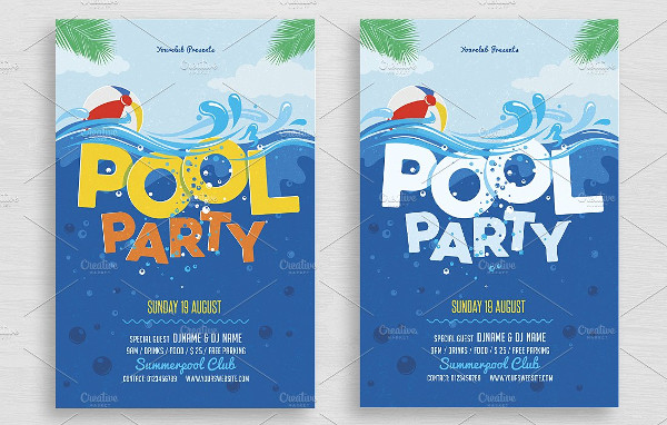 College Pool Party Flyer Template