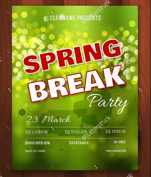 College Spring Break Party Flyer Template