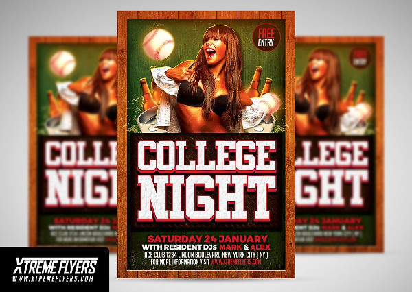 Printable College or School Party Flyer Template
