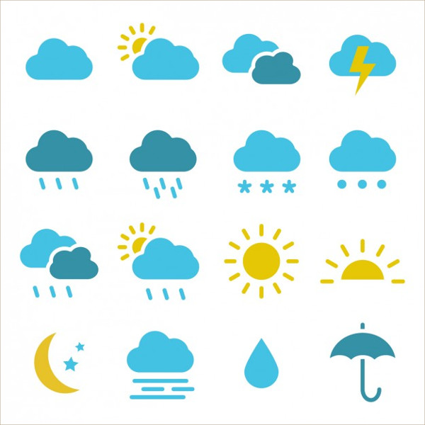Colored Weather Icon Collection Free Download