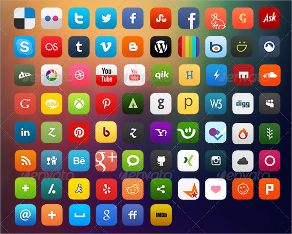 75 Social Media Flat Icons