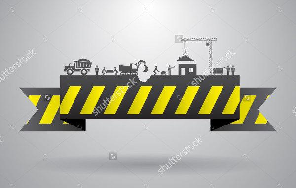 Yellow Construction Banner Vector