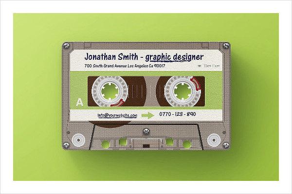 Cool Mixtape Die Cut Plastic Business Card