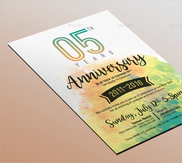 Watercolor Anniversary Invitation Template
