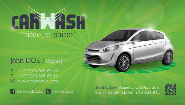 Car Wash InDesign Business Card