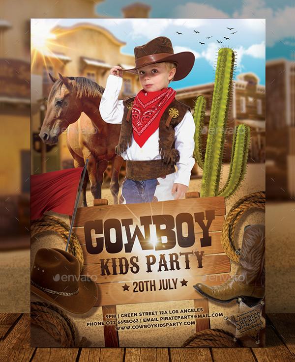 Cowboy Kids Party Flyer Template