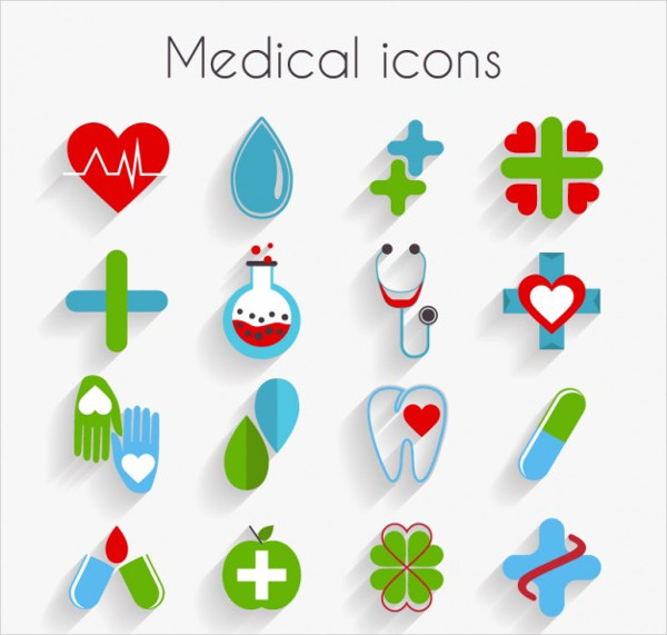 Cute Medical Icons In Flat Design
