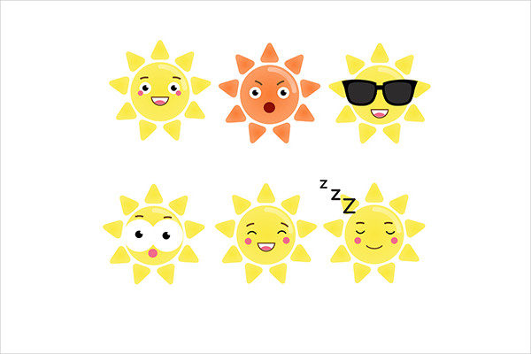 Cute Sun Emoji Icons