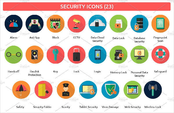 23 Security Flat Icons