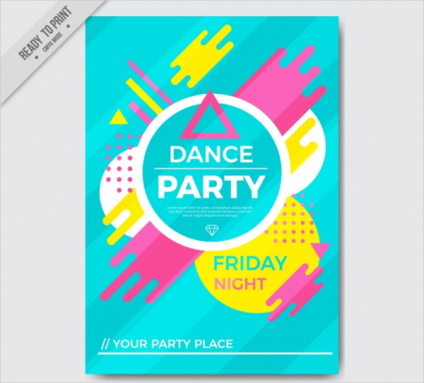 Dance Party Colorful Flyer Template Free