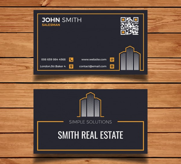 Dark Business Card for Operated Real Estate Free
