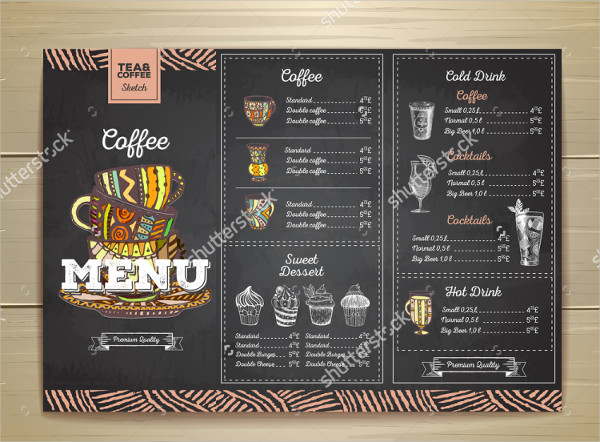 Chalk Drawing Coffee Menu Template