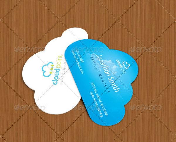 Cloud Point Custom Shape Die Cut Business Card