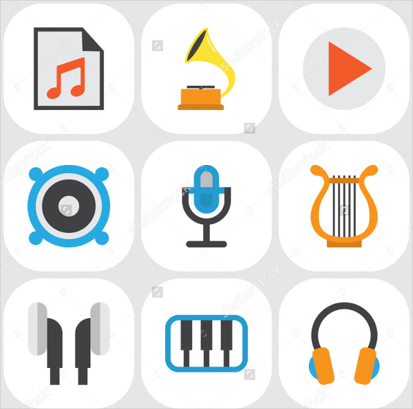 Perfect Music Flat Icons Set