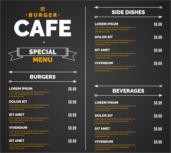 Dinner Blackboard Menu Template
