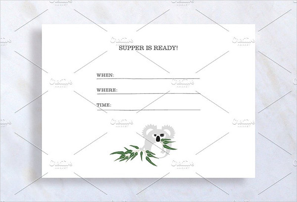 Cute Dinner Invitation Template with Koala Bear