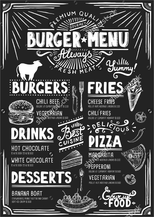 Burger Blackboard Menu Design