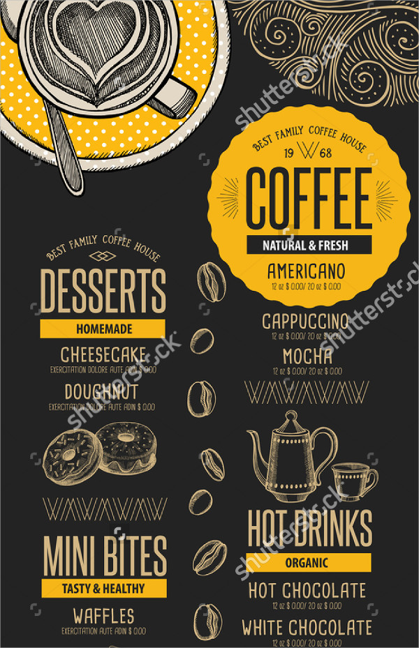 Fresh Coffee House Menu Template
