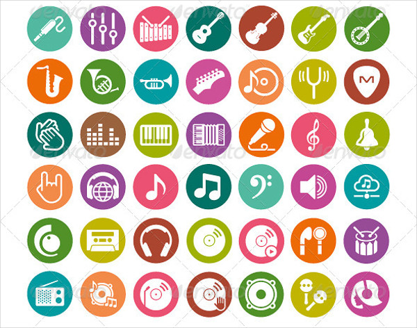 Colorful Music Icon Pack for Web & Mobile Apps
