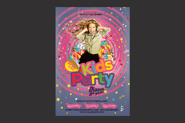 Editable Kids Party Flyer Template
