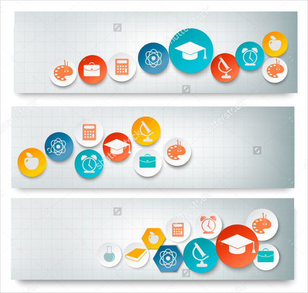 Education Banners Set with Icons