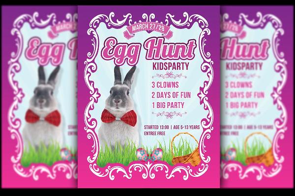 Egg Hunt Party Flyer for Kids