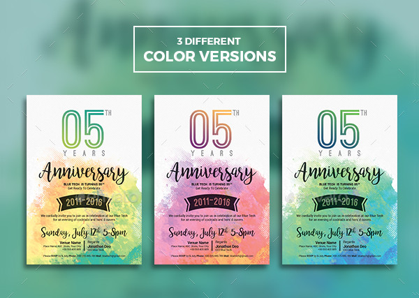 Elegant Anniversary Invitation Templates Bundle