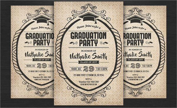 Vintage Graduation Party Night Flyer Template