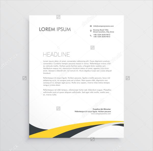 Elegant Yellow Gray Waves Letterhead