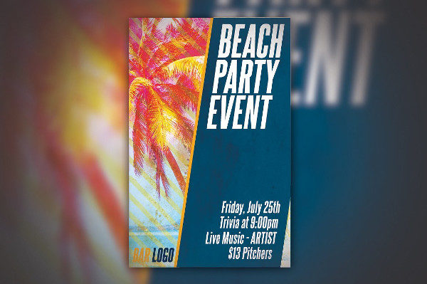 Beach Event Party Poster Template